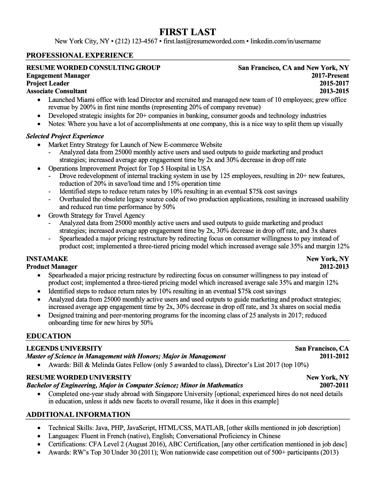 Multiple projects resume