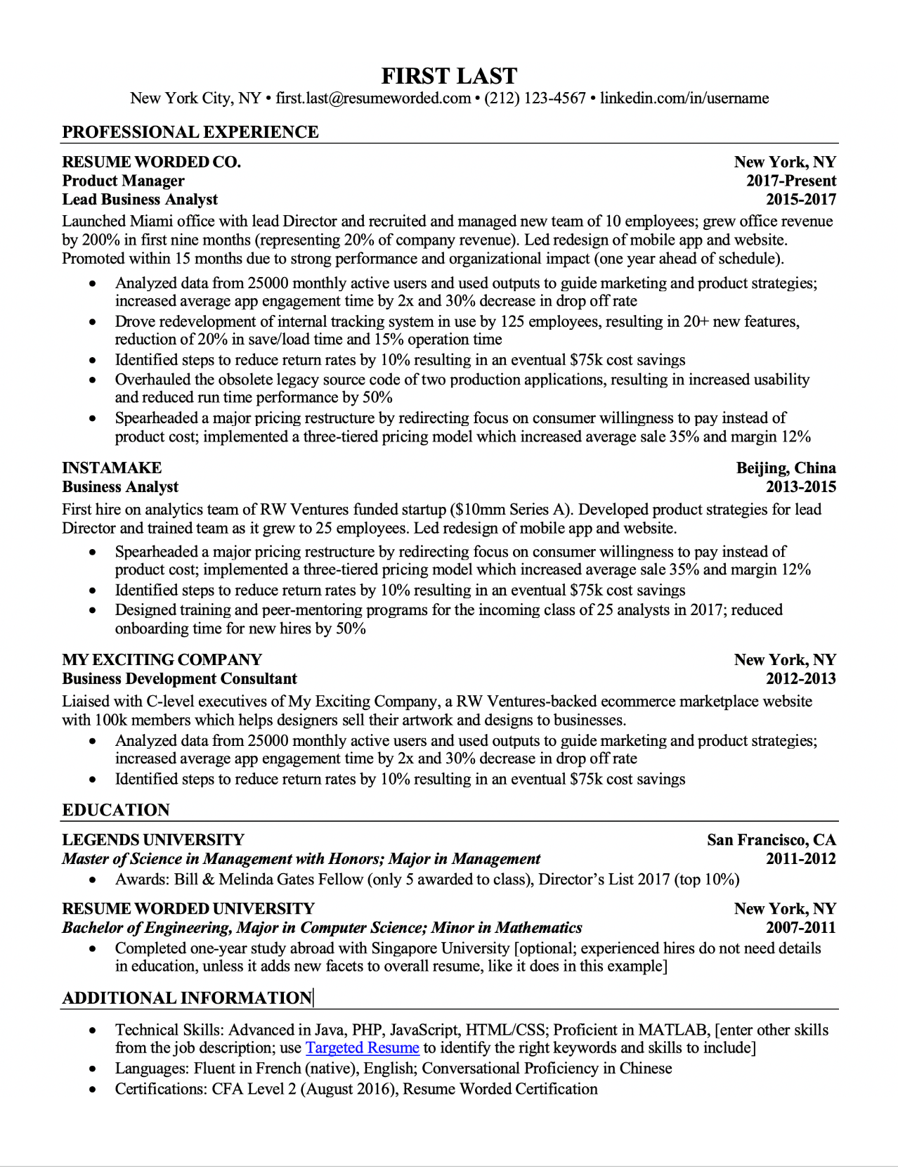 Sample resume template with responsibilities before bullet points