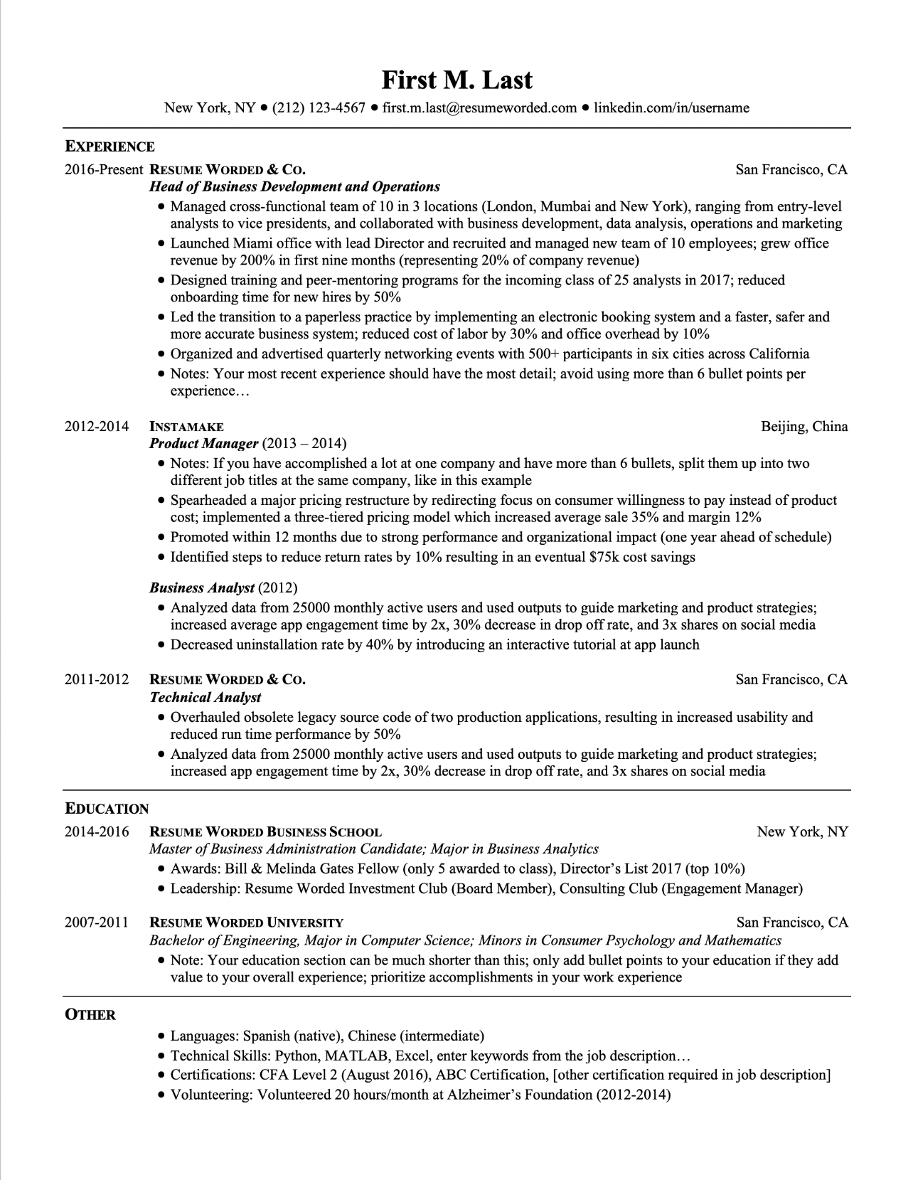 Screenshot of a modern resume template for graduates and experienced hires, updated for 2019