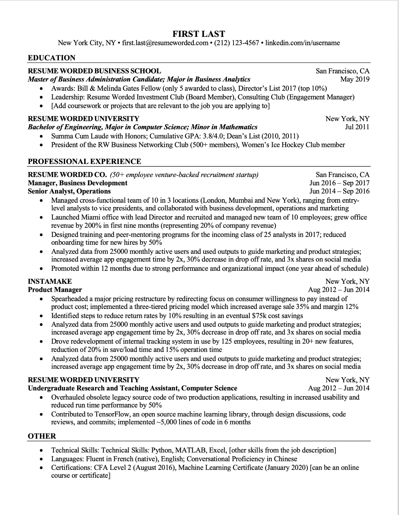 Screenshot of a resume template that is ATS-compatible for Students - Preview Two