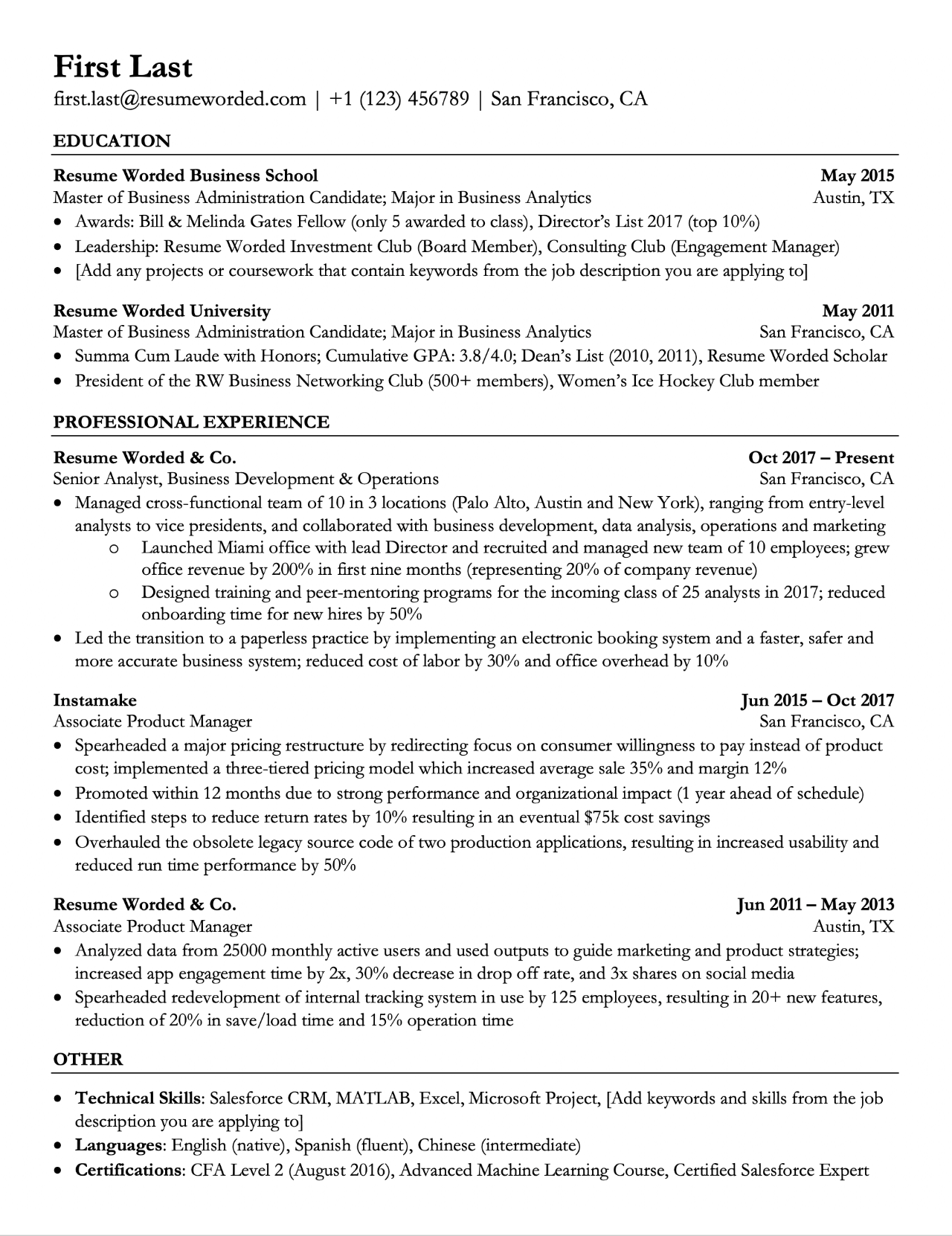 ats resume template for entry level college graduates