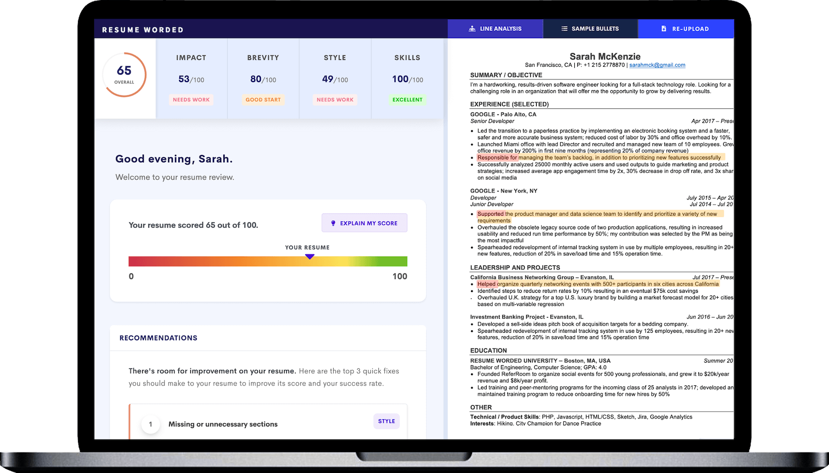 Our all-new resume checker is powered by AI