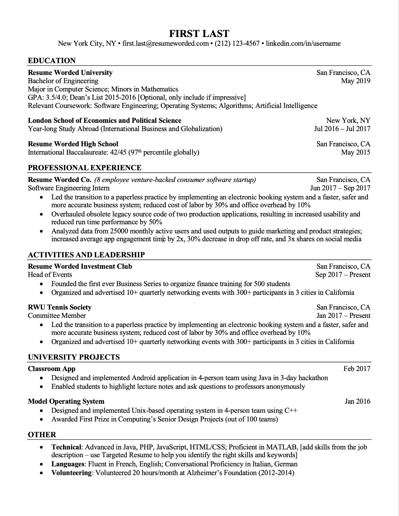 Free ATS Ready Resume Template for Students - Preview One